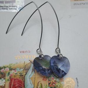 Swarovski crystal hearts earrings